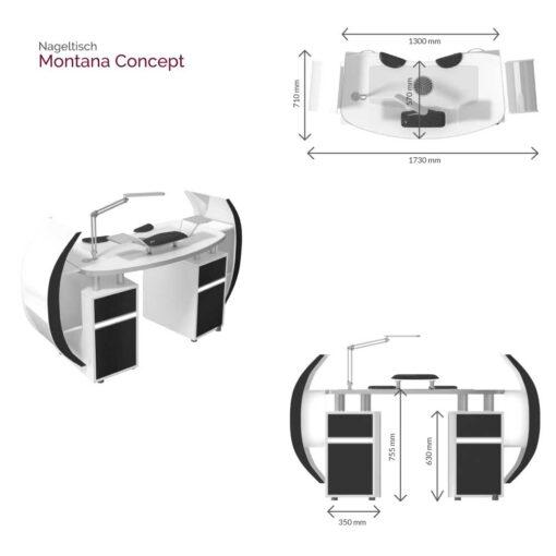 Nageltisch Montana Concept Maße